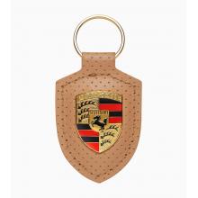 přívěsek klíčenka Porsche kožená se znakem Porsche Heritage béžová na klíče