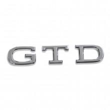 logo znak VW Golf 8 nápis GTD chromový zadní nalepovací