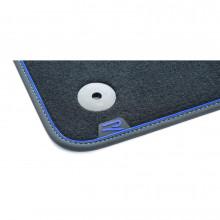 koberce VW Golf 8 látkové textilní Premium modré prošívání logo R přední a zadní sada