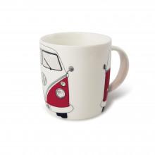 hrnek VW T1 hrníček Bulli Bus Coffee porcelán červený Bulli bílá barva