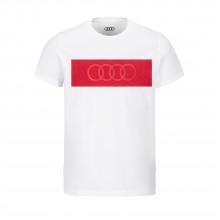 tričko Audi bílé pánské červené kruhy Audi