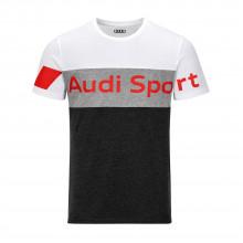 tričko Audi šedo černé s nápisem Audi Sport pánské