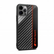 kryt Audi na telefon iPhone 12 / 12Pro  carbon vzhled logo Audi Sport