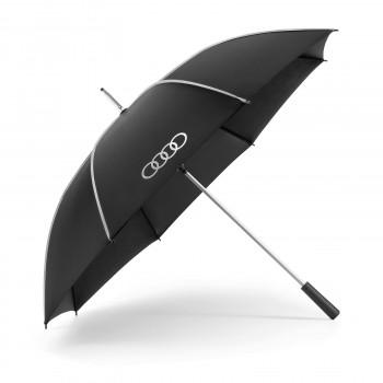 deštník Audi s nápisem Audi kruhy černo stříbrný